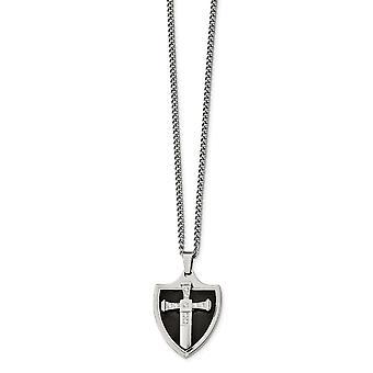 Edelstahl poliert schwarz Ip mit CZ Zirkonia simuliert Diamant religiösen Glauben Kreuz Schild Halskette