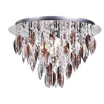 THLC Willazzo Round 5 Light Flush Ceiling Fitting In Polished Chrome With Smoked Droplets