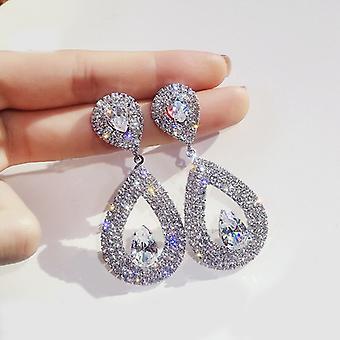 Silver Crystal Encrusted Tear Drop Earrings