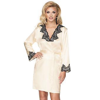 Irall Women's Juniper Cream Off White Floral Robe Loungewear Bath Dressing Gown