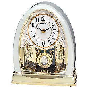 Rhythm 7641 Table clock Quartz with pendulum golden with melody and light sensor