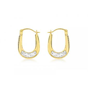 Eternity 9ct Gold Small Oval Crystal Set Creole Hoop Earrings
