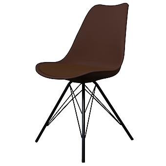 Fusion Living Eiffel Inspired Chocolate Brown Plastic Dining Chair With Black Metal Legs