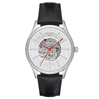 Armani Watches Ar2072 Meccanico Silver & Black Textured Leather Automatic Men's Watch