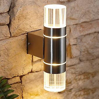 Biard LED Up Down Garden Outdoor Wall Light - IP44 Weatherproof Stainless Steel
