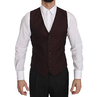 Dolce & Gabbana Bordeaux Brocade Slim Fit Vest -- JKT2746480