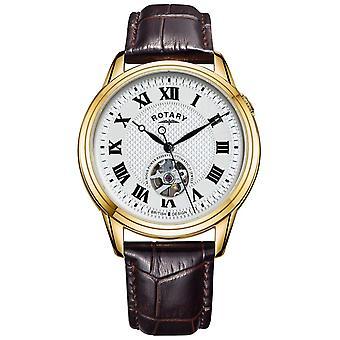 Rotary Cambridge Automatic | Cinta de couro marrom | Relógio de discagem prata GS05368/70