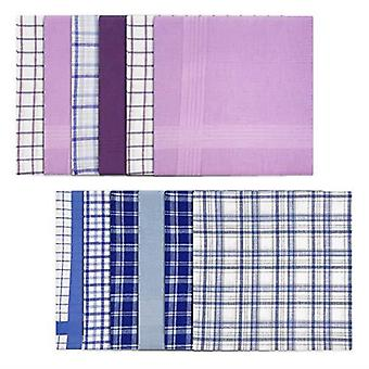 Mens/Gentlemens Handkerchiefs 100% Cotton Blue & Purple Check & Dyed Designs, Gift Boxed