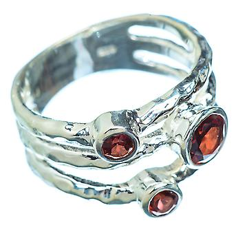 Garnet Copper Ring Size 6 (925 Sterling Silver)  - Handmade Boho Vintage Jewelry RING5420