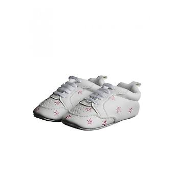 Modern White Christening Shoe With Pink Stars For Baby