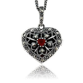 Art Nouveau Style Heart Cornelian & Marcasite Locket on Chain in 925 Sterling Silver 27077