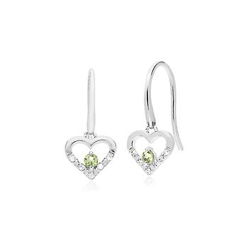 Classic Round Peridot & Diamond Love Heart Shaped Drop Earrings in 9ct White Gold 162E0258089