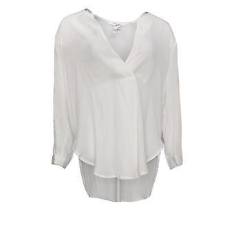 Masseys Women's Top Basic Layering Blouse V-Neck White