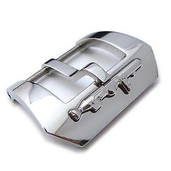 Strapcode watch buckle polished 316l stainless steel screw-in submarine embossed removable detail tang buckle