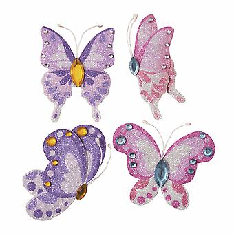 4 Purple Pink Glittered & Jewelled Butterflies - Papercraft Embellishments
