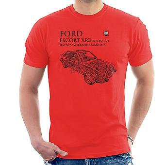 Haynes proprietários Workshop Manual 0686 Ford Escort XR3 preto t-shirt dos homens