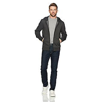 Essentials Men's Full-Zip Hooded Fleece Sweatshirt, Charcoal Heather, ...