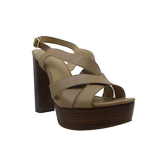 Michael Michael Kors Womens Audrina Leather Peep Toe Casual Slingback Sandals