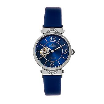 Empress Alouette Automatic Semi-Skeleton Leather-Band Watch - Blue