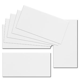 تأثير الأبيض. 100mm × 210mm. DL القياسية. ورقة بطاقة 250gsm.