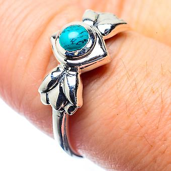 Tibetan Turquoise Ring Size 8.25 (925 Sterling Silver)  - Handmade Boho Vintage Jewelry RING26379