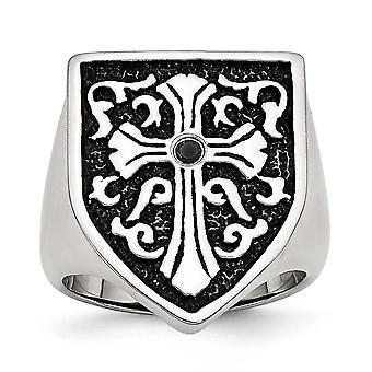 Edelstahl poliert Kreuz mit Black Diamond antikisiert Schild Ring - Ring-Größe: 9 bis 12