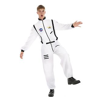 Mens White Astronaut Spaceman Suit Outfit Fancy Dress Halloween Costume