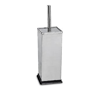 Square Steel Bathroom Toilet Brush & Holder Set - Chrome