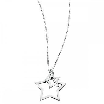 Beginnings Sterling Silver N2730 Double Star 40+2cm Necklace
