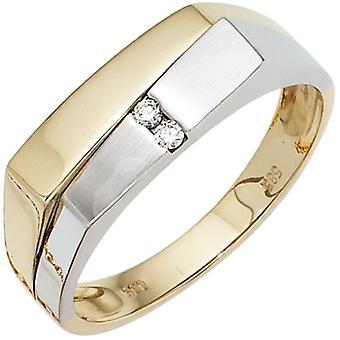 Anello uomo 585 Oro Giallo Oro Oro Bianco Oro Matted 2 Diamanti Brillante Anello d'Oro