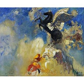 Den svart Pegasus affisch Skriv Odilion Redon