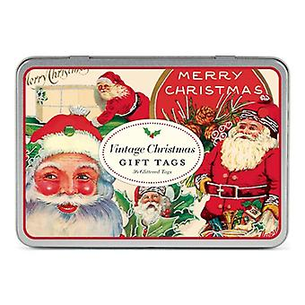 Cavallini Vintage Christmas Tags Tin x 36 Glittered Tags