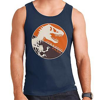 Jurassic Park T Rex Oranssi Tausta Luuranko Siluetti Miehet's Liivi