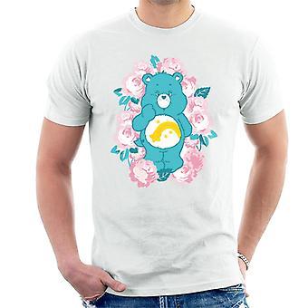 Ursos de cuidados desejam urso flores rosa homens't-shirt