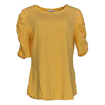 Isaac Mizrahi Live! Women's Top Polka-Dot Ruched Sleeve Yellow A351086