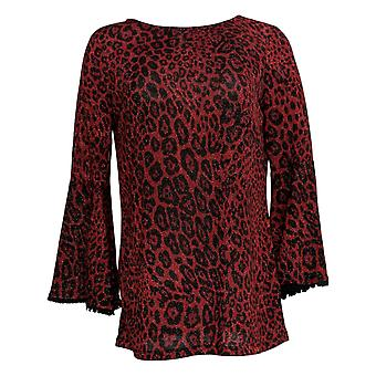 Susan Graver Women's Sweater Animal Print 3/4 Sleeve Red A344654