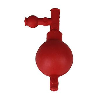 2.83x2.05 Inch Labware Red Rubber Pipette Filler Bulb w/ Three Valve