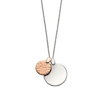 Fiorelli Silver Womens 925 Sterling Silver & Rose Gold Plating Overlappende Circle Disc Hanger Ketting van lengte 81cm