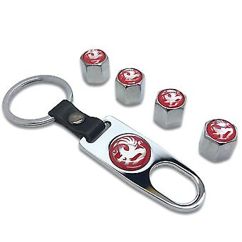 Vauxhall Set of 4 Red / Chrome Car Tyre Air Dust Valve Stem Cap With Keyring Locking Tool