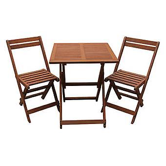 Comedor/Salón de jardín en madera exótica Hanoi- Mesa plegable  cuadrada 60 cm + 2 sillas plegables