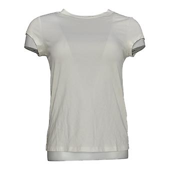 Anybody Women's Top Shrunken Short Sleeve Boyfriend Tee White A378607