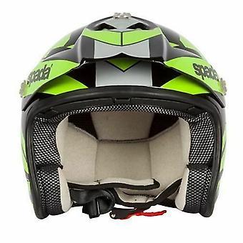 Spada Edge Chaser Open Face Helmet Black Fluorescent Green ACU Approved