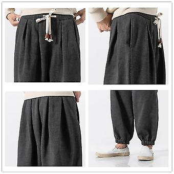 Men's Winter Chinese Style Wool Warm Pants Joggers Sweatpants