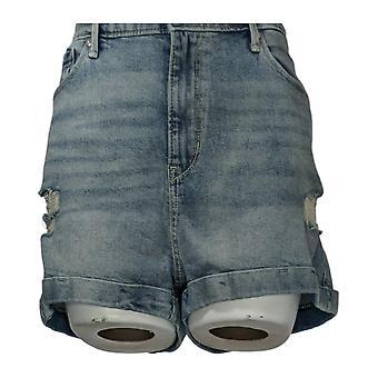 Denizen From Levis Women's Jr Shorts Denim Ripped Detail Blue