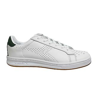 Diadora Martin White Green Leather Low Lace Up Mens Trainers C1161