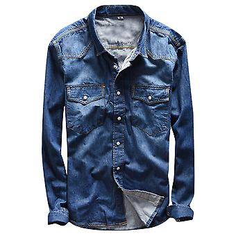Yunyun Men's Washed Denim Casual Personality Slim Fit Soft Long Sleeve Shirt