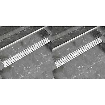 vidaXL Liniowe rynny prysznicowe 2 szt. linie 1030 x 140 mm ze stali nierdzewnej
