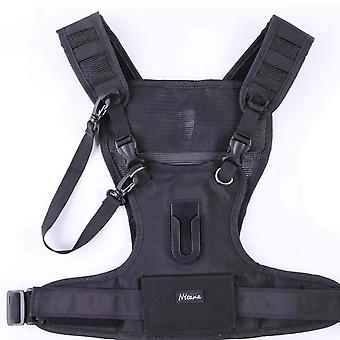 Nicama camera carrier chest harness vest with mounting hubs & backup safety straps for 1 camera cano