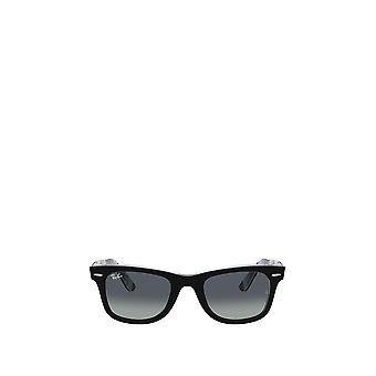 راي بان RB2140 أسود على النظارات الشمسية الرمادية شيفرون / بورجوندي للجنسين