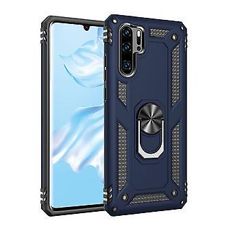 Iskunkestävä TPU + PC-kotelo jalustalla Huawei P30 Litelle - sininen